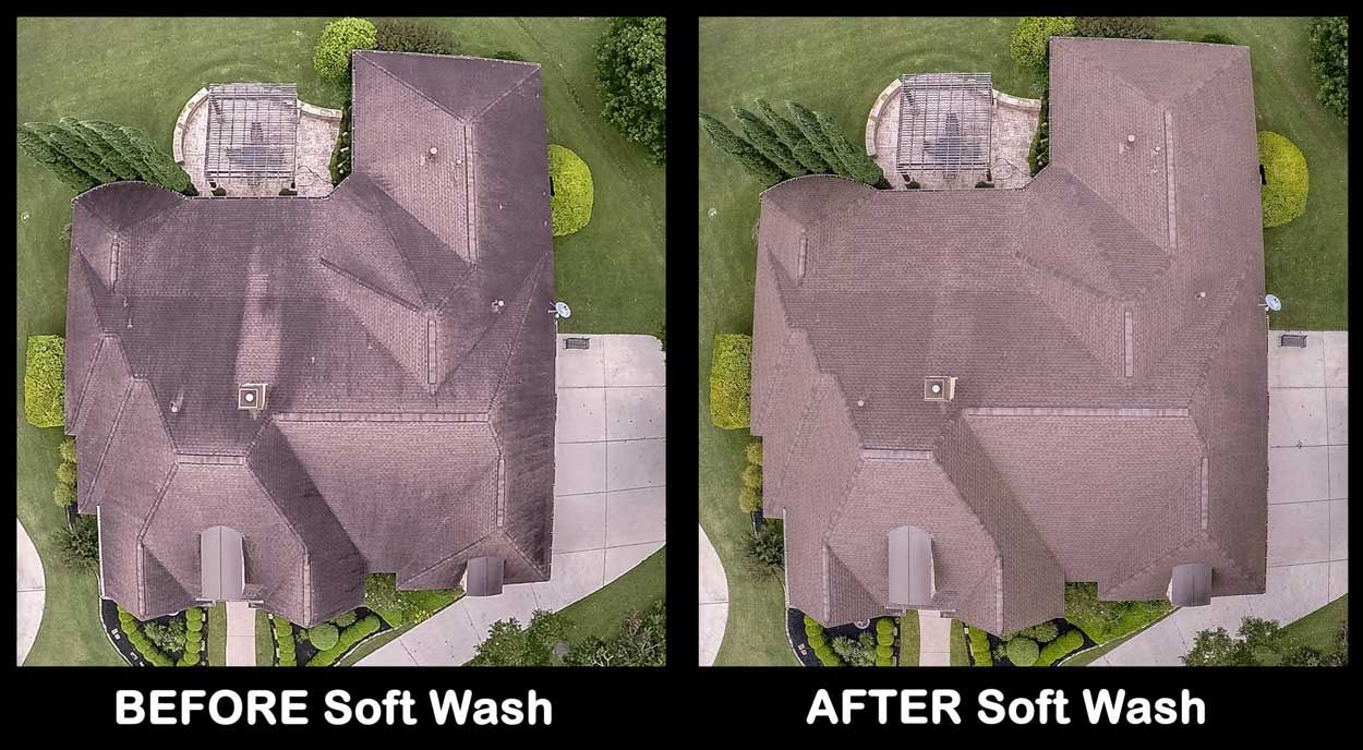 Before And After Roof Soft Washing